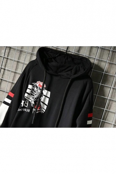 Men's Hip Hop Fashion Striped Hand Floral Printed Colorblock Long Sleeve Relaxed Cozy Hoodie