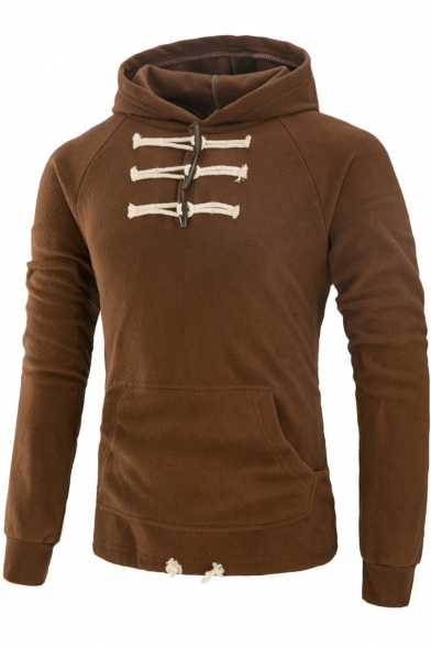Men's Unique Toggle Button Embellished Front Long Sleeve Regular Fitted Hoodie