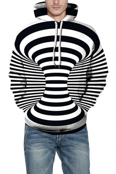 New Stylish 3D Black and White Striped Whirlpool Printed Casual Drawstring Hoodie