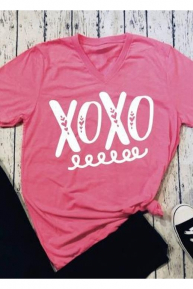 Popular Letter XOXO Print V-Neck Short Sleeve Pink Loose Fit T-Shirt