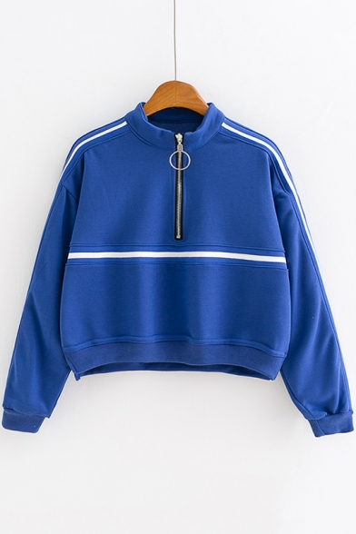 Stand Collar Half-Zip Long Sleeve Striped Printed Casual Loose Cropped Sweatshirt