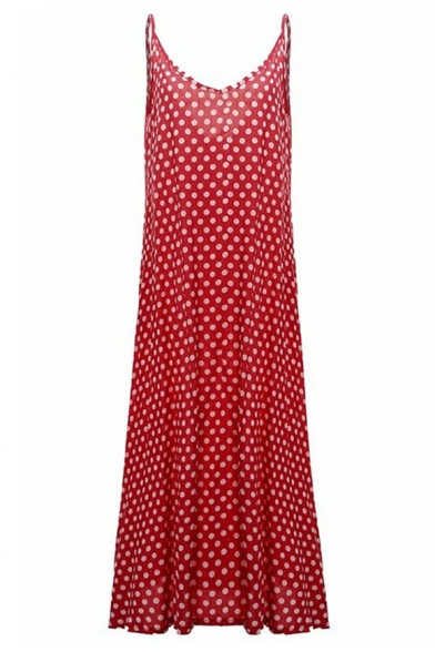 Trendy Fashion Polka Dot Printed Casual Loose Maxi Slip Dress for Women