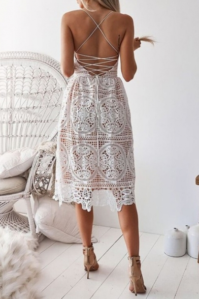 Women's Chic Spaghetti Straps V-Neck Sexy Open Back Midi A-Line Lace Slip Dress