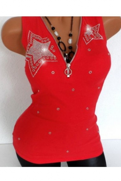 Купить со скидкой Women's Fashion Diamond-Embellished Chic Zip Closure V-Neck Sleeveless Fitted Tank Top