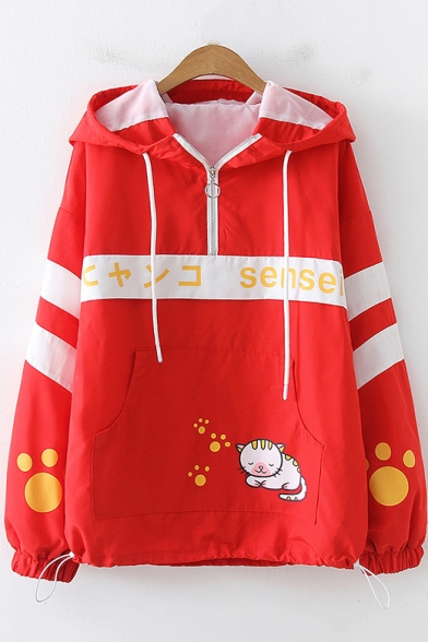 Cartoon Letter Cat Printed Fashion Colorblock Long Sleeve Half-Zip Loose Fit Hoodie