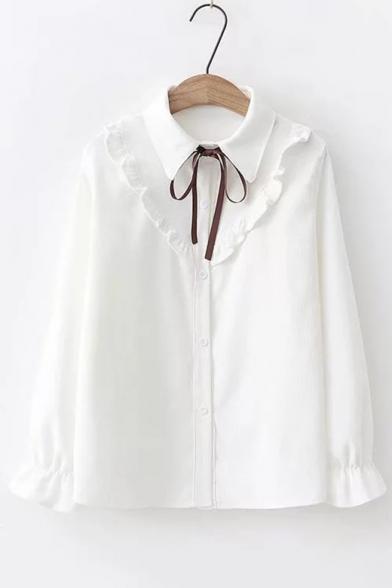 Fancy Ruffled Hem Bell Cuff Long Sleeve Bow-Tied Collar Button Down Shirt