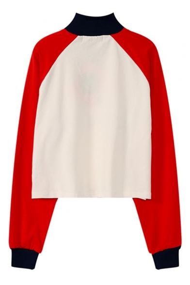 Fashion Half-Zip Stand Collar Long Sleeve Colorblock Letter Print Cropped Sweatshirt