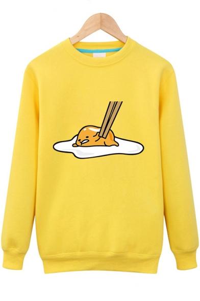 Funny Lazy Egg Gudetama Printed Long Sleeve Round Neck Unisex Pullover Sweatshirt