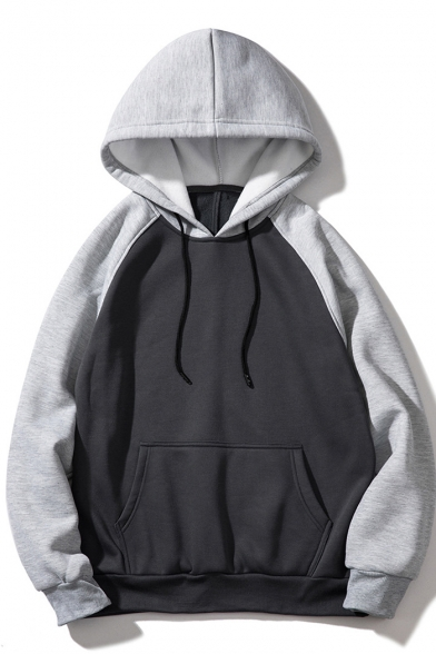 New Fashion Colorblock Long Sleeve Casual Loose Relaxed Drawstring Hoodie for Guys