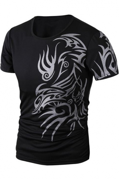 New Stylish Tattoo Printed Men's Short Sleeve Round Neck Fitted T-Shirt