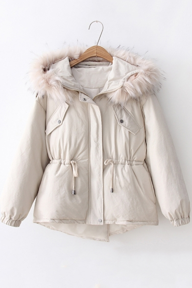 Trendy Fur-Trimmed Hood Long Sleeve Drawstring Waist Warm Thick Cotton Padded Coat