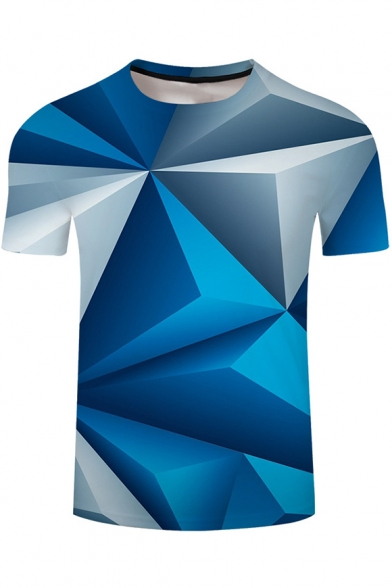 Cool 3D Blue Geometric Pattern Loose Casual Short Sleeve T-Shirt