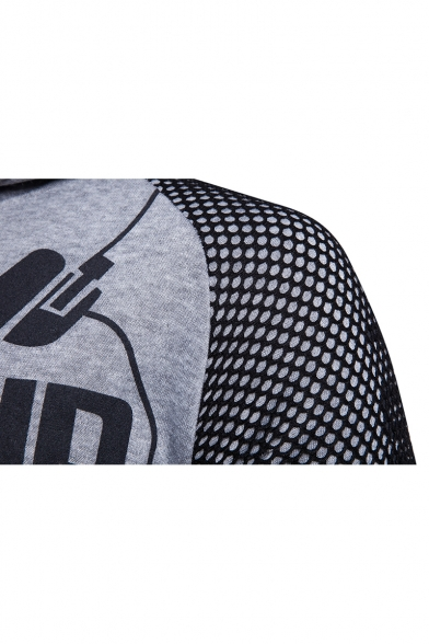 Cool Letter PUMP UP THE VOLUME Print Mesh Panelled Long Sleeve Fitted Hoodie for Guys