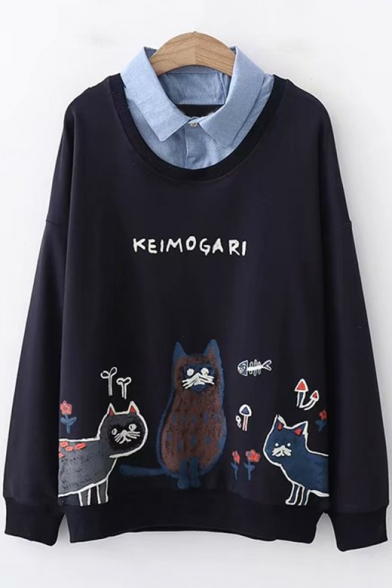 Denim Patched Lapel Collar Long Sleeve Cartoon Cat Letter Print Pullover Sweatshirt