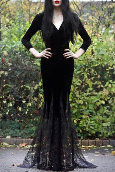 Fashion Black V-Neck Long Sleeve Lace-Panelled Hem Fishtail Floor Length Bodycon Evening Dress