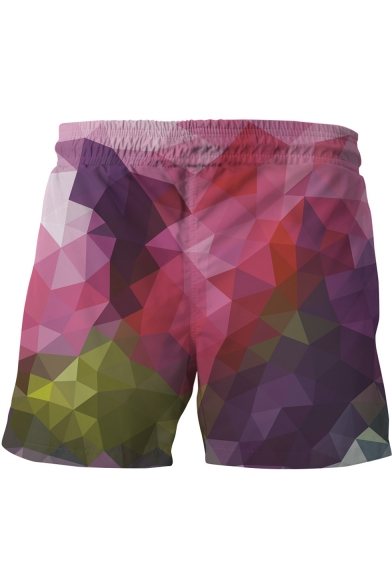 Fashion Summer Beach Drawstring Waist 3D Geometric Print Purple Swim Trunks for Men