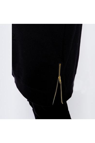 Funny Cartoon Letter IS IT TOO LATE Printed Zip-Embellished Side Slim Fit Black Long Hoodie