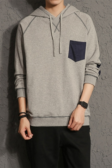 Guys Stylish Pocket Patched Chest Elbow Patched Long Sleeve Contrast Striped Relaxed Cotton Hoodie Beautifulhalo Com