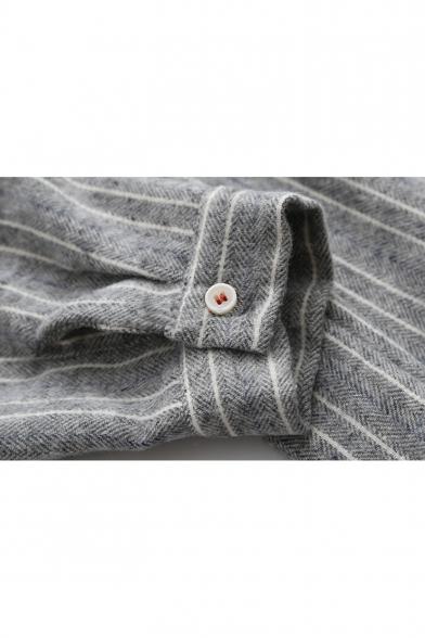 Lovely Cartoon Cat Pocket Chest Tied Lapel Collar Long Sleeve Linen Button Striped Shirt Dress