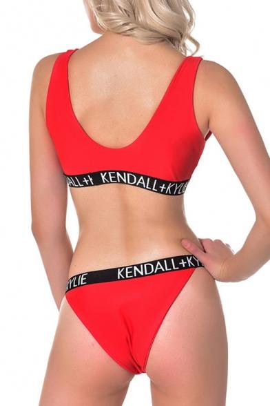 New Trendy Fashion Letter Printed Scoop Neck Tank Top Beach Swimwear
