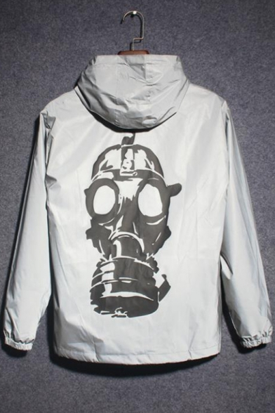 Reflective Long Sleeve Skull Printed Zip Hooded Gray Coat for Couple