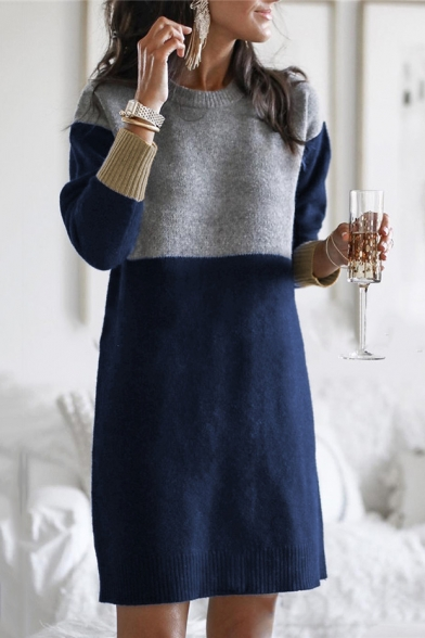 Round Neck Long Sleeve Colorblock Loose Mini Shift Sweater Dress