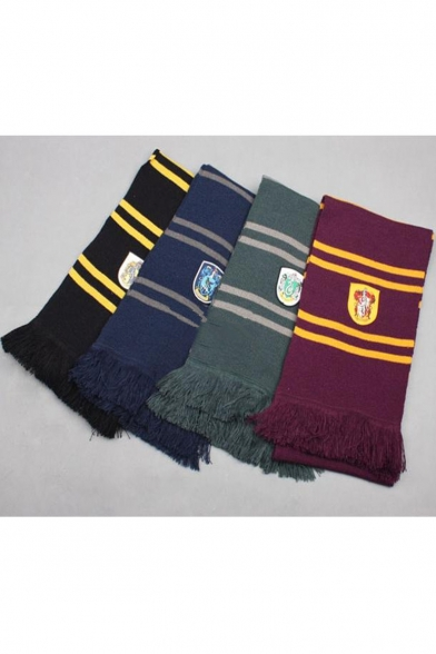 Trendy University Badge Striped Printed Fringed Hem Scarf