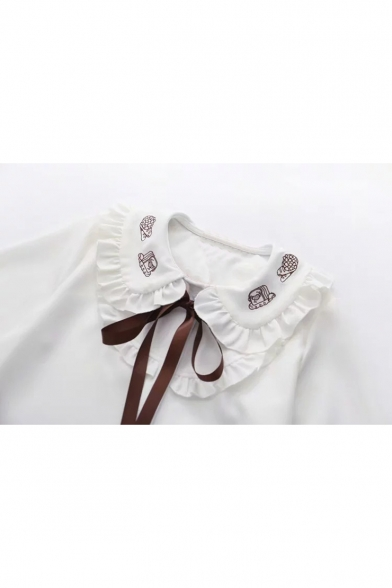 White Cartoon Embroidered Long Sleeve Peter Pan Collar Tie Front Button Down Shirt