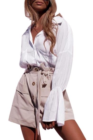 Basic Simple Plain Fashion Flared Cuff Long Sleeve Dipped Hem Button White Shirt