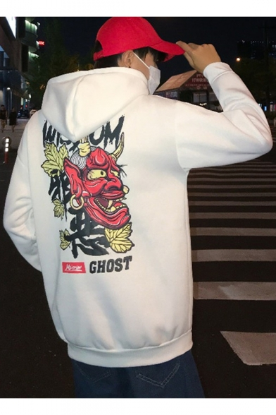 Boys Fashion Monster Back Letter WISDOM GHOST Printed Long Sleeve Oversized  Warm Hoodie - Beautifulhalo.com