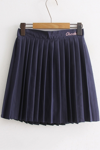 Купить со скидкой Cool Letter CHOCK Heart Embroidered Elastic Waist Mini A-Line Pleated Skirt