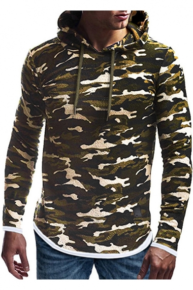 Men's Classic Camouflage Printed Contrast Trim Patched Long Sleeve Slim Fitted Hoodie