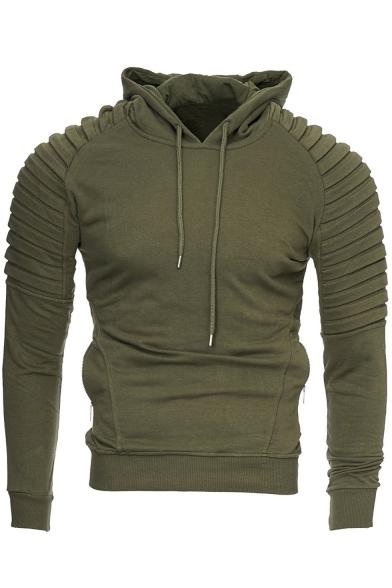 Generic Mens Pullover Hoodie Pleated Drawstring Sweatshirt