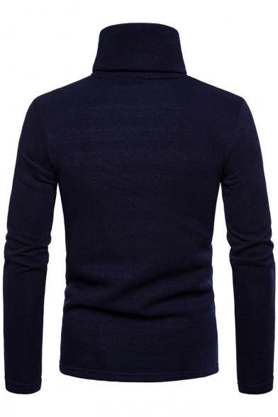 New Stylish Button Embellished High Neck Long Sleeve Plain Regular Fitted Pullover Sweatshirt