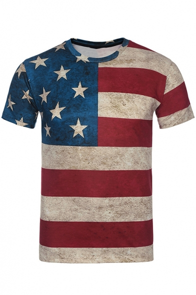 Popular America Flag Printed Round Neck Short Sleeve Fitted Red T-Shirt