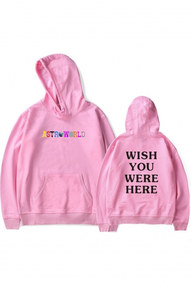 Popular ASTROWORLD WISH YOU WERE HERE Letter Print Long Sleeve Loose Leisure Hoodie for Juniors
