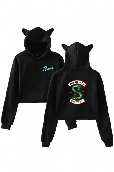 Popular Riverdale Letter SOUTH SIDE Snake Logo Print Long Sleeve Cropped Ear Hoodie