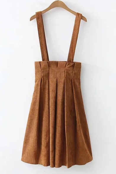 Retro Khaki Corduroy Simple Plain Midi A-Line Pleated Overall Skirt for Students