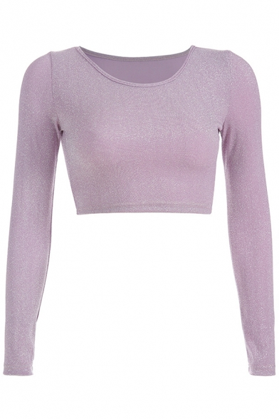 Simple Long Sleeve Round Neck Plain Pink Cropped Slim Top