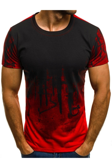 Stylish Tie Dyed Camo Pattern Short Sleeve Training Fitness Sport T-Shirt for Men