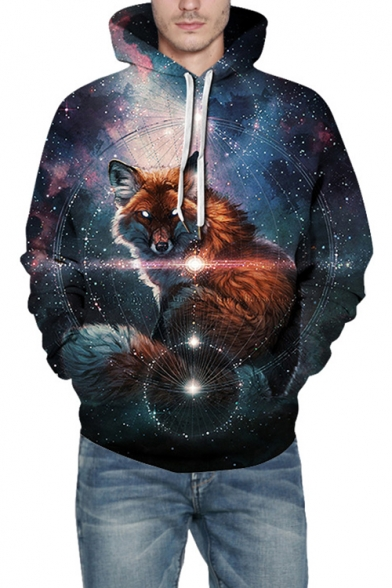 Blue 3D Galaxy Fox Printed Casual Loose Long Sleeve Pullover Hoodie