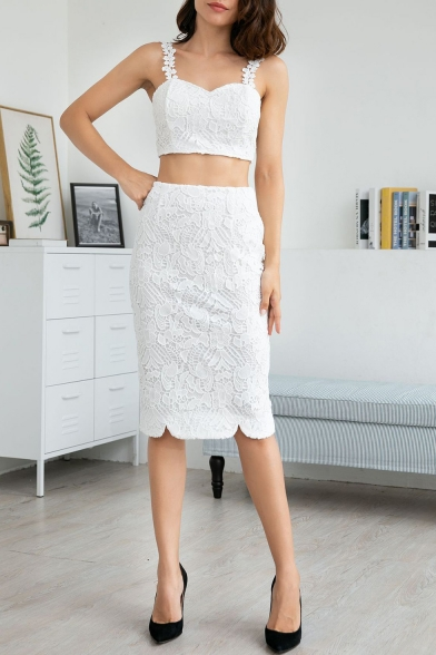 Chic Lace Straps Cropped Cami Top Split Back Midi Pencil Skirt Trendy Sexy Co-ords for Women
