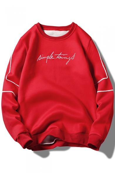 Hot Popular Signature Letter Print Striped Long Sleeve Crewneck Pullover Sweatshirt