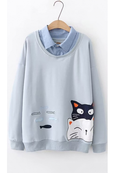 Lovely Cartoon Cat Fish Embroidery Long Sleeve Patched Lapel Collar Pullover Sweatshirt for Juniors