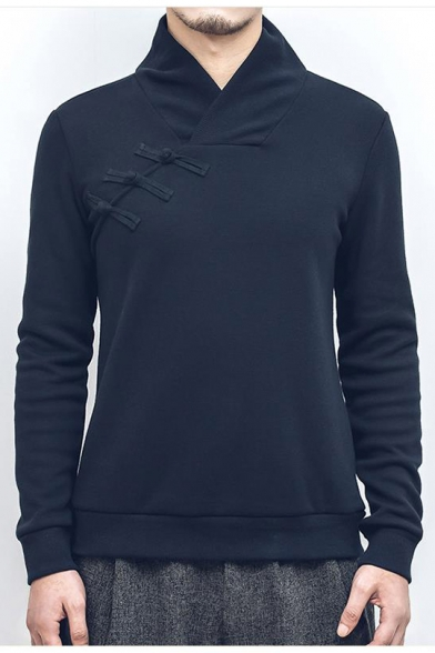 Men's Retro Chinese Style Side Button-Embellished Stand Collar Long Sleeve Regular Fitted Sweatshirt