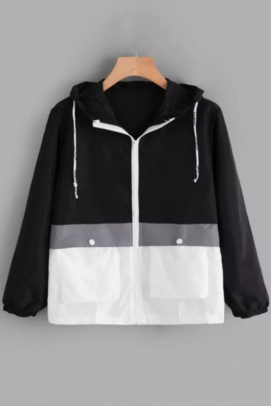 Stylish Colorblock Long Sleeve Loose Casual Sports Zip Up Drawstring Hooded Coat