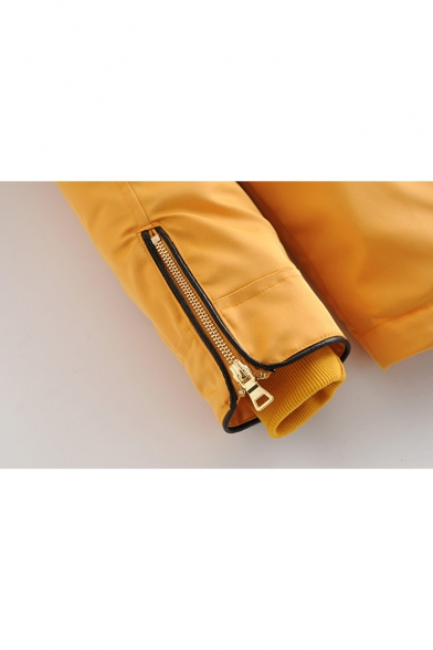 Thick Long Sleeve Zip Placket Plain Drawstring Waist Hooded Coat with Pockets