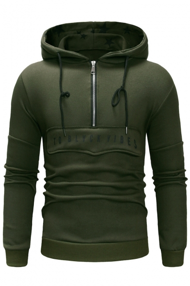 Trendy Star Print Letter TO BLVCK VIBES Half-Zip Front Slim Fitted Drawstring Hoodie for Men