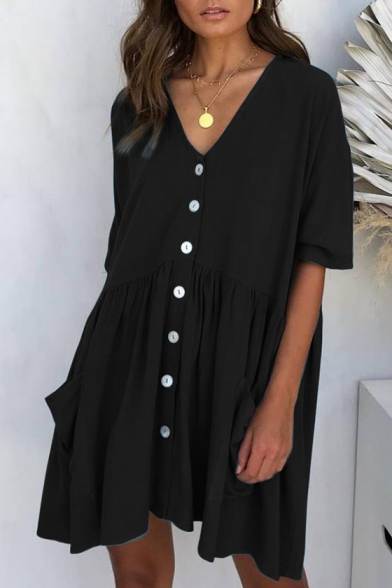 Women's Casual Plain V-Neck Short Sleeve Button Front Pleated Mini Shift Dress with Pocket