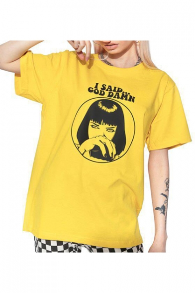 Cool Short Sleeve Round Neck Character Letter I SAID COD DAMN Printed Relaxed Unisex Yellow Tee LC498903 фото